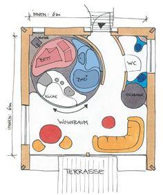 Rotor-Haus Grundriss, entworfen vom deutschen Designer Luigi Colani und gemeinsam mit HANSE HAUS entwickelt, ein Teil dreht sich dem Wohnraum zu. Luigi, Colani Design, Branding, Fantasy World, Tiny House, Designer, Nice, Character, Vintage