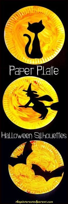 Halloween Paper Plate Silhouette Crafts Halloween Paper Plate Silhouettes with printable template . Choose from a black cat, a witch or bat Halloween silhouette - Halloween arts and crafts for kids. Kids Crafts, Daycare Crafts, Preschool Crafts, Halloween Paper Plate Crafts For Kids, Halloween Decorations For Kids, Halloween Crafts For Preschoolers, Halloween Art Projects, Preschool Learning, Kids Diy