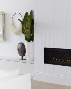 Home Renovation Fireplace Heavenly details in Bonnie's Dream Home, Three Birds Renovations - Small Living Rooms, My Living Room, Living Room Designs, Living Room Decor, Dining Room, Living Area, Living Spaces, Home Fireplace, Living Room With Fireplace