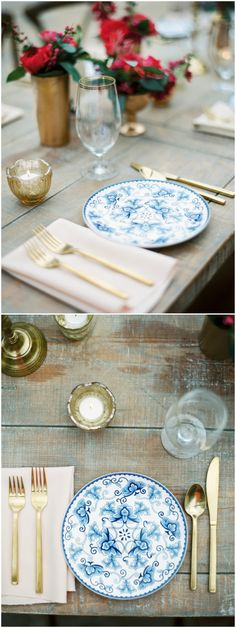 Blue china plates, gold utensils, bright pink floral centerpieces, blush colored napkins, wedding reception placesetting ideas // JoPhoto