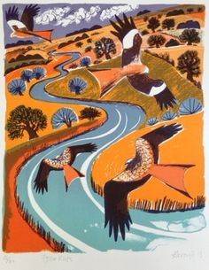 Red Kites lithograph