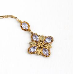 Vintage Art Deco Simulated Alexandrite Lavalier Necklace - 1930s Yellow Gold Washed Purple, Blue Color Change Stone Paperclip Chain Jewelry by Maejean Vintage on Etsy