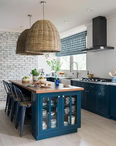 "791 Likes, 18 Comments - BRIAN PATRICK FLYNN (@bpatrickflynn) on Instagram: ""HGTV Urban Oasis 2017: the kitchen with its navy cabinets and whitewashed oak floors and its…"""