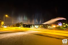 Amazing light beams in the sky – reflection of light in frozen air. 17.1.2014 in Rovaniemi Lapland Finland