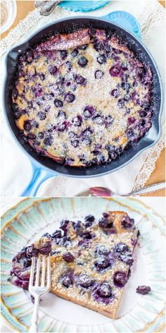 Blueberry Dutch Baby Pancake - Never be a slave to flipping pancakes again! Make one big one and bake it!! So easy and packed with juicy blueberries! Great for summer holiday brunches!