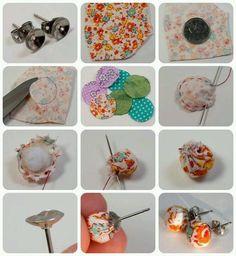 Fabric Scrap Earring tutorial by TinyApartmentCrafts, via Fl Fabric Earrings, Fabric Beads, Diy Earrings, Fabric Scraps, Scrap Fabric, Button Earrings, Textile Jewelry, Fabric Jewelry, Beaded Jewelry