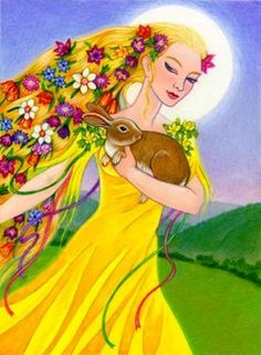 Ostara is just around the corner.Eostre Goddess is ripening and getting ready to emerge on this Spring Equinox as the Maiden, once more. Learn about the Goddess of Spring and honor her this Ostara. Triple Goddess, Moon Goddess, Earth Goddess, Vernal Equinox, Sabbats, Beltane, Gods And Goddesses, Mellow Yellow, Faeries