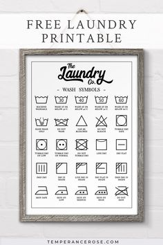 Check out this free printable laundry symbols wall art designed to fit in perfectly with farmhouse decor! Decorate your laundry with this practical poster and avoid mistakes associated with unfamiliar laundry symbols (no more shrunken woollens!). This free laundry printable comes in a range of sizes including A3, A4, 8 x 10, 16 x 20 and Letter. #freeprintable #freefarmhouseprintable #freelaundryprintable #laundrysymbolsprintable