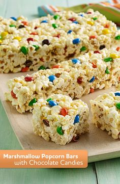 Marshmallow Popcorn Bars with Chocolate Candies are an easy and delicious treat!