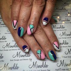 #colourful #sparkle #fun #pretty #nails #nailart #gelnails #handpainted #summer
