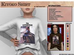 The Sims 4 mody do gry: Koszulka Kiyoko od Simtographes Sims 4 Male Clothes, Sims 4 Toddler Clothes, Sims 4 Cc Kids Clothing, Sims 4 Ps4, Sims 4 Game, Sims Cc, Sims 4 Body Mods, Sims Mods, The Sims 4 Bebes