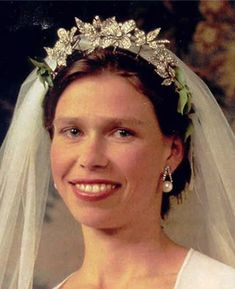Lady Sarah, daughter of Princess Margaret, wearing the Snowdon Floral Tiara, a gift from Anthony Armstrong-Jones (Lord Snowdon) to Princess Margaret for their wedding.