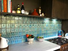 kitchen with Morrocan tile splash back