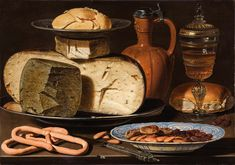 "Many Dutch still-life artists painted cheese, but none in such exquisite, hunger-inducing detail as Clara Peeters in ""Still Life with Cheeses, Almonds and Pretzels. Women Artist, Poland Food, Norway Food, Dutch Republic, Denmark Food, Dutch Cheese, The Last Judgment, Dutch Still Life, Carnegie Museum Of Art"