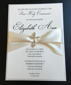 Cream Embellished Luxury First Communion Invitation Baptism Invitation Christening Invitation Confirmation Invitation