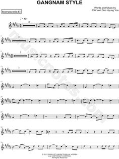 "PSY ""Gangnam Style - Eb Instrument"" Sheet Music (Alto or Baritone Saxophone) - Download & Print"
