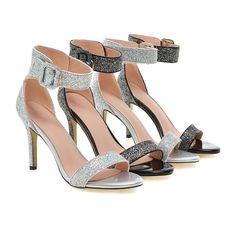 Summer Buckle Sandals Pumps High-heeled Spike Shoes Woman