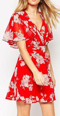 Kimono Flippy Dress in Red Floral Print