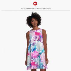 #floral #flowers #fashion #women #design #designer #dress #gorgeous #beautiful #bossbabe #springdress #summerdress #shoping #onlineshopping #redbubble #pink #blue #peony #garden #roses #floralgarden