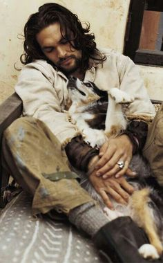 Jason Momoa with puppy! i cant take this! <3