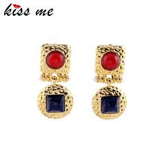 Kiss me exquisito elegante rojo de imitación de zafiro de imitación de piedras preciosas pendientes de gota de la joyería de las mujeres pendientes