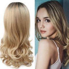 Ombre Wig Brown To Ash Blonde High Density Heat Resistant Synthetic Hair Weave Full Wigs For Women Curly Hair With Bangs, Hairstyles With Bangs, Weave Hairstyles, Curly Hair Styles, Natural Hair Styles, Blonde Hairstyles, Long Curly Hair, Curly Bob, Short Hair