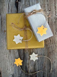 Christmas star ornaments, silver and gold clay ornaments, holiday gift tags
