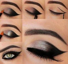#makeup #make #up #eyes #color #maquillaje #ojos #dorado #eyerline #delineado #cute #professional