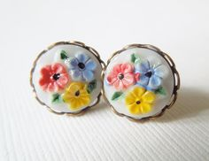 Tiny Vintage Floral Earrings painted in red yellow by TheSilverDog
