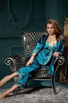 Silk Blend Gorgeous Women Sleepwear Lace Sleep Tops Pants Robe Pajama Sets  Gifts f7ec7da4a