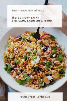 #salat #testoviny #bezmasa #vegetarianske #recept #primafresh Feta, Kung Pao Chicken, Risotto, Food And Drink, Cooking, Ethnic Recipes, Essen, Kochen, Brewing