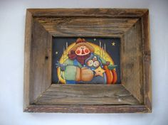 Autumn Scarecrow Cat and Moon Primitive by barbsheartstrokes,. Tole Decorative Paintings, Tole Painting, Barn Wood Picture Frames, Deco Paint, Thanksgiving Crafts, Rustic Barn, Painting Patterns, Autumn Inspiration, Fall Halloween