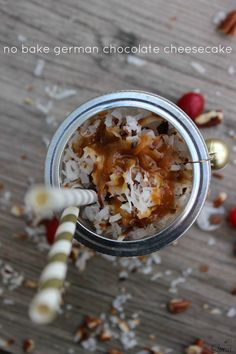 No Bake German Chocolate Cheesecake - in a jar #TasteTheSeason #Ad