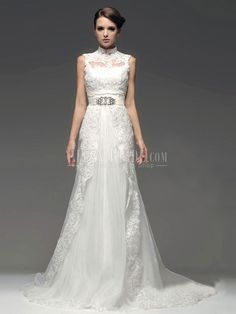 A-line Princess High Collar Chapel Train Lace Chiffon Vintage Wedding Dresses