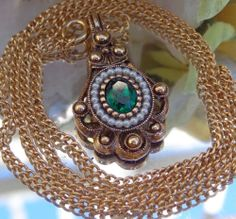 SOLD VTG AVON Victorian Revival Faux Green Emerald & Seed Pearl Pendant Necklace PROM