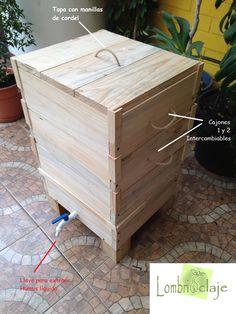 Vermicompostera madera, cajones con manillas de cordel, para su fácil manipulación y tapa para evitar malos olores e insectos.