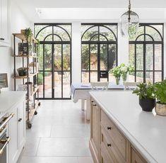 Crittal Doors, Black Window Trims, Times Property, Kitchen Design, Kitchen Decor, Kitchen Ideas, Roof Light, Home Upgrades, Al Fresco Dining