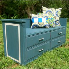 My super-talented friends made this reclaimed dresser turned bench. I LOVE it! www.beautifullyanew.com www.facebook.com/beautifullyanew