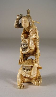 Fine Japanese Ivory Okimono of Oni and Warrior, Signed