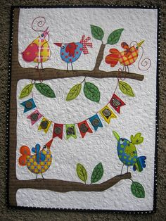 A client's wall hanging | Flickr - Photo Sharing! Colorful Birds, Wall Hangings, Applique Quilts, Baby Quilts, Mini Quilts, Little Birds, Wall Quilts, Bird Of Paradise, Bird Quilt