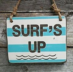 Surfs Up  Small Hanging Sign  Kids Room Decor  Surfing Sign *** You can get more details by clicking on the image. (Note:Amazon affiliate link) #KidsRoomDecor