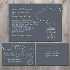 Mason Jar Fireflies Wedding Invitation Suite - DIY Printable Wedding Invitation and RSVP Card or Postcard $30.00