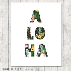 Aloha Print Tropical Home Decor Hawaii by Justabirdprintables