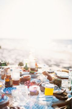 Table with view of the ocean at a beach party