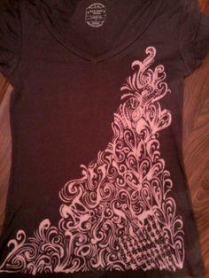Ruined shirt? Not anymore!  A little bleach + a little brush = Fantabulous