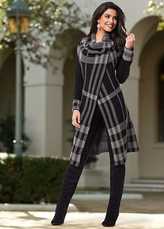 Women's Plaid sweater cardigan, cami, demin, over the knee boot