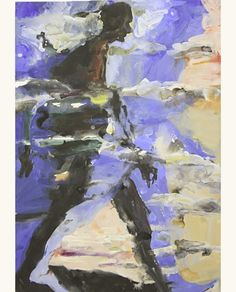 Figure/Clouds night, 2003 - Euan Macleod (b. 1956)  acrylic on paper on canvas