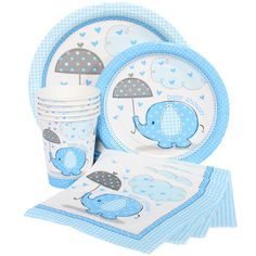 Blue elephant baby shower decor