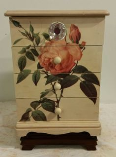 Shabby chic jewellery box rustic rose jewelry box ,distressed,vintage,crystal glass knob, rustic, extra large,hand painted, Gift for her by BorrowedButBetter on Etsy