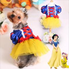 Dog Wedding Party Dress Lace Puppy Skirt Pet Dog Clothes Snow White Suits Tutu Skirts Costumes Size XS-XL Available #Affiliate